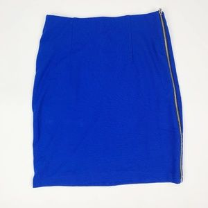 Vince Camuto Blue Side Exposed Zipper Pencil Skirt